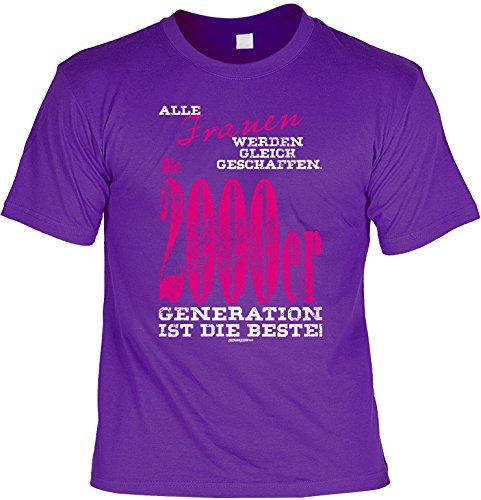 T-Shirt zum Geburtstag - Alle Frauen werden.. - 2000er Generation ist die beste! - Geschenk - Fun shirt - violett Violett