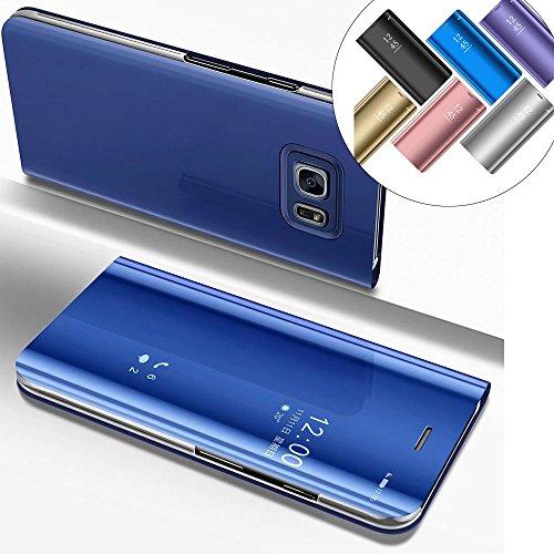 LEMAXELERS Galaxy S6 Edge Plus Hülle Luxus Spiegel Mirror Makeup Plating PU Flip Tasche Ledertasche Schutzhülle Handyhülle mit Ständer-Funktion Hülle Etui für Galaxy S6 Edge Plus,Mirror PU:Blue