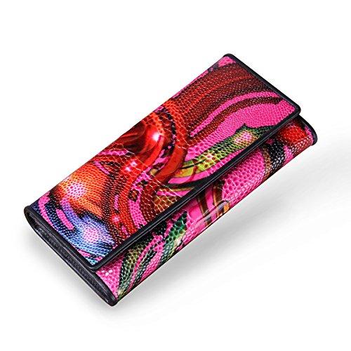 Contacts Portafoglio lungo della borsa delle cellule delle donne delle signore di cuoio delle donne Rosso Fushia