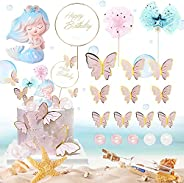 19 PCS Mermaid Cake Toppers, Mermaid Tail Theme Birthday Party Cake Decoration with Butterfly cake toppers for