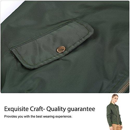 Fitibest Classica Giacca da donna Zip Up Cappotto Giacca Bomber Esercito verde