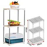 Standregal Badregal Haushaltsregal mit 3 Böden,Küchenregal, 49x31x90 cm, Grau + Cremeweiss ,SR0032