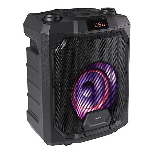 MEDION P61988 Party-Soundsystem (Mobile PA, Partylautsprecher,Karaoke, Bluetooth, Kompaktanlage, 500 Watt, 4000mAh Akku, Farbige LED, USB, AUX, Mikrofonanschluss, Gitarrenanschluss)