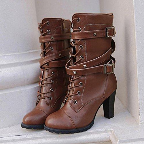 Longra Donne Donne Solid Color Pelle artificiale Medio Cilindro Spessore Alta tallone Zipper Belt Fibbie Boots Marrone