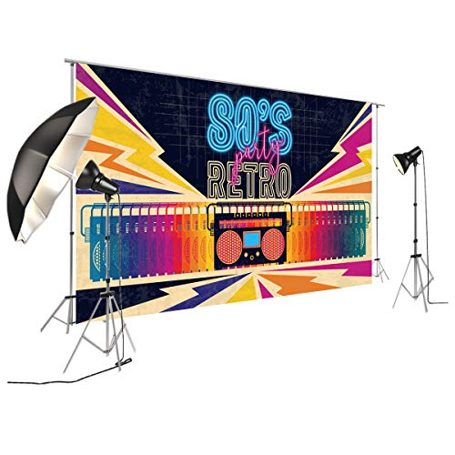 FiVan Disco Party Banner Hintergrund - blendfreie Rückseite aus Vinyl bis 80er 90er Jahre Party Dekoration Fotobooth Hintergrund, XT-7315, 79