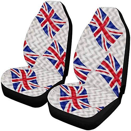 Drew Tours Union Jack Flag of The UK Coprisedili per Auto Anteriori Set di 2, Cuscino per Sedile Anteriore per Auto, Camion, SUV