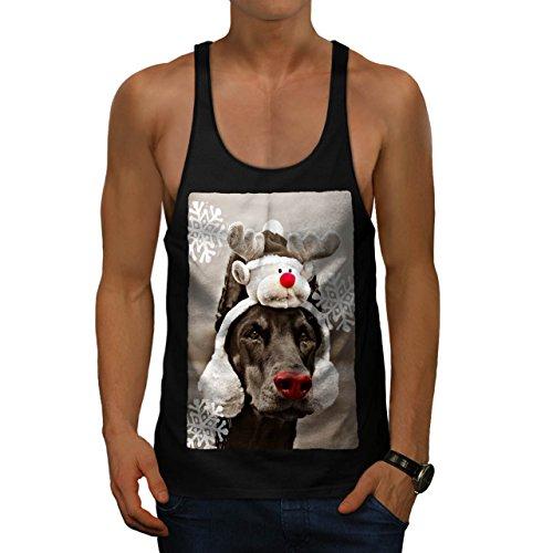 Komisch Hund Hirsch Weihnachten Rentier Herren S Gym Muskelshirt   Wellcoda (Heilige Hund Kostüm)