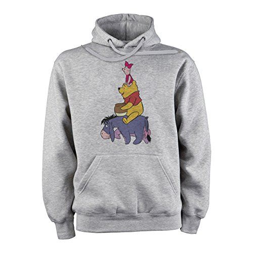 Winnie The Pooh Logo Eeyore Pooh And Piglet Tower Sitting XXL Unisex Hoodie (Eeyore Hoodie)