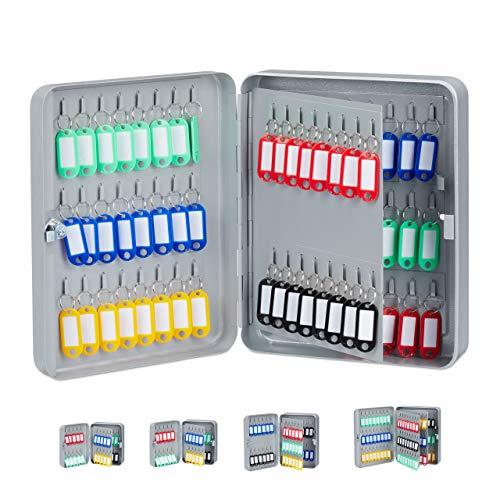Relaxdays Schlüsselkasten, abschließbare Sicherung, Keygarage mit 80 Haken, 30x24x8 cm, Grau - Schrank Garage Organizer