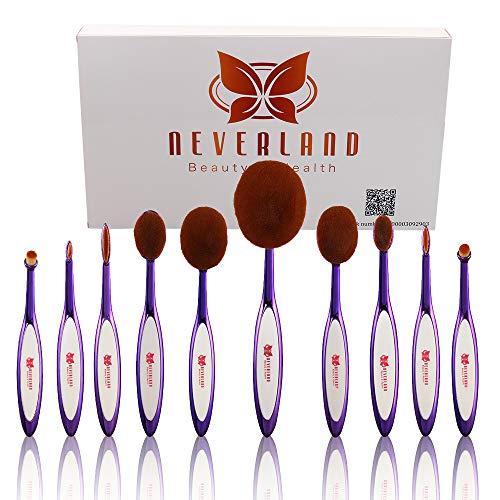 Neverland Lot de 10 Brosse ovale brosse à dents Set pinceau de maquillage pinceau ovale Set de pinceaux à maquillage ovale