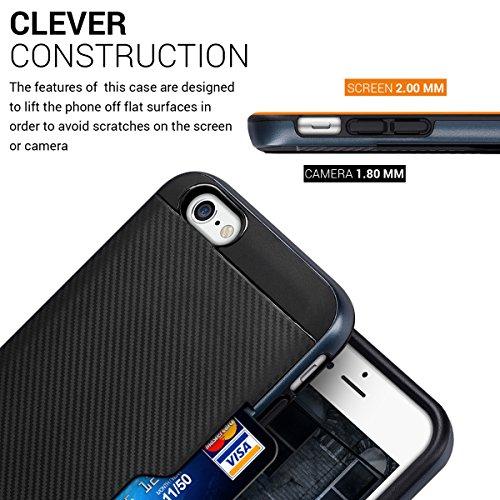 kwmobile Étui hybride Design modèle hybride pour Apple iPhone 6 / 6S en or rose noir .bleu foncé noir