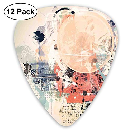 Guitar Picks 12-Pack,Grunge Textured Mix Collage With Murky Tone Effects Artistic Watercolor Design Theme Art -