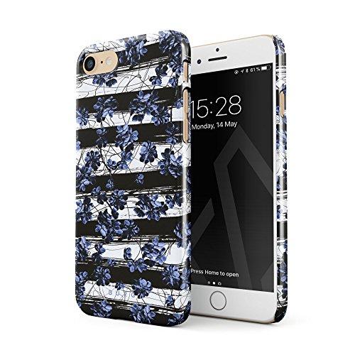 BURGA Hülle Kompatibel mit iPhone 7 / iPhone 8 Handy Huelle Blau Kirschblüte Floral Pattern Chevron Mode Blumenmuster Blühende Dünn, Robuste Rückschale aus Kunststoff Handyhülle Schutz Case Cover