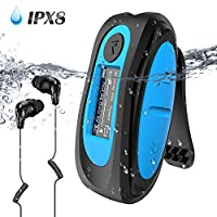 AGPTEK S07 Updated IPX8 Waterproof MP3 Player with Clips 8GB Music Player with Music Radio File Finder Swimming MP3 with Headphones Multifunctional MP3 Player for Indoor Outdoor Sports Running Surfing