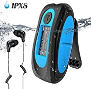 AGPTEK S07 Updated IPX8 Waterproof MP3 Player with Clips 8GB Music Player with Music Radio File Finder Swimmin
