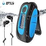 Lettore MP3 Subacqueo Nuoto 8GB con Schermo Radio FM Clip e Cuffie Waterproof Impermeabile IPX8 per Piscina e Altri Sport, Blu(AGPTEK S07)