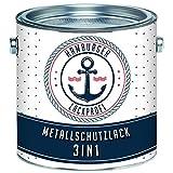 Metallschutzlack 3in1 SEIDENMATT Schwarzgrau RAL 7021 Grau Metallschutzfarbe 3-in-1 Grundierung, Rostschutz und Deckanstrich in Einem Metalllack Metallfarbe // Hamburger Lack-Profi (1 L)