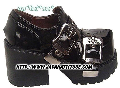 Chaussures gothique noire laquée avec sangles 9100 - 36 Noir