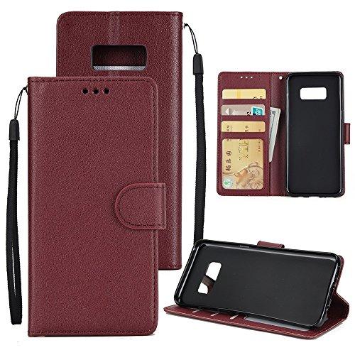 XHD-Phone protection XHD-Telefonschutz für Samsung Mit Lanyard, Card Slot, Magnetic Buckle Öffnen Sie die Phone Shell für Samsung Galaxy S8 Einfach & praktisch (Color : Wine) (Schutz Classic Plus Slip)