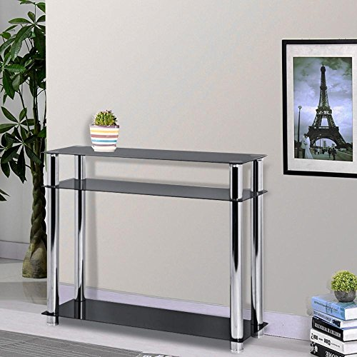 Chinkyboo 3 tier modern black glass narrow console table for Narrow console table modern