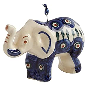 Polish Pottery Peacock Elephant Handmade Ceramic Christmas Ornament Ceramic, 1.25″L x 1.25″W x 3″H