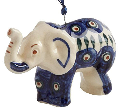 Polish Pottery Dekofigur Pfau Elefant, Keramik, handgefertigt, 3,8 x 3,8 x 7,6 cm Pfau Keramik
