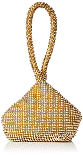 MIS_Beads Womens Mini Soft Body Beaded Wristlet Pouch Clutch Bag (Gold)