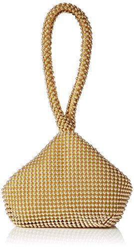Big Handbag Shop Mini pochette-bracelet souple à perles pour femme - Or - doré, One