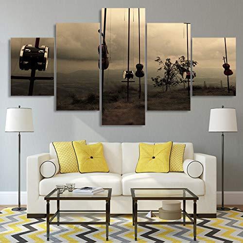Modern Home Decor Wall Art Modulare 5 Panel Strumento Musicale Poster per Esterni HD Stampato Canvas Living Room Immagini