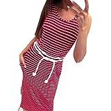 Yanhoo Mode Frauen Sommer Boho Streifen Lange Maxi Kleid Abend Party Strand Kleider Asymmetrische Casual Sommerkleid Minikleid Strandkleid Komfortabel Kurzarm Tunika Blusenshirt (XL, Rot Lange)