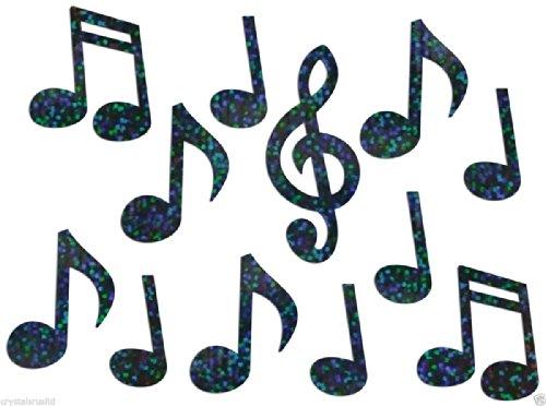 Music Notes Holografische Bügelbild Bling Neuheit DIY Party TShirt Transfer Aufnäher Patch schwarz (Transfer Shirt)