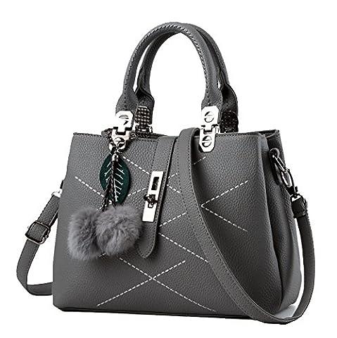 Fanova Women Girls Handbags Royal Blue PU Leather Shoulder Bags Totes Shopping Bags With Plush Pendant (grey)