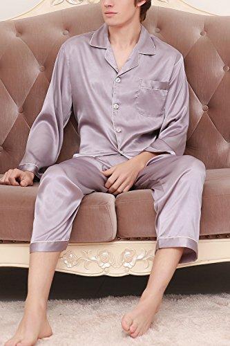 Dolamen Herren Schlafanzug, Satin Paare lang Zweiteiliger Pyjamas Frühling Sommer, Herren Schlafanzug mit Überprüfen Sie geknöpftes Hemd Kragen mit Tasche L XL XXL Silber