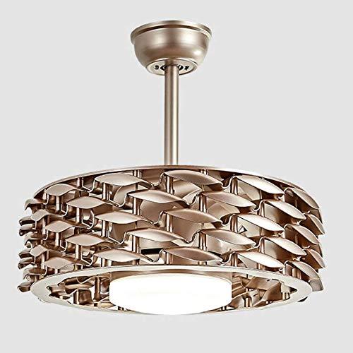 GXFXLP Lüfterlicht, blattloses Lüfterlicht Led Six Gear Intelligent Shift Wohnzimmer Nordic Kronleuchter Deckenleuchte Moderne minimalistische Schlafzimmerlampe,Champagne