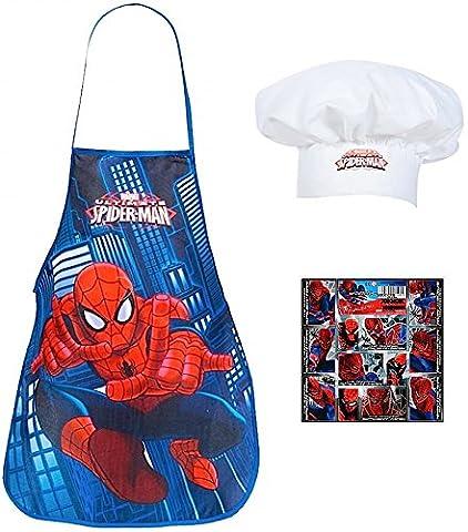 2 tlg. - SPIDER-MAN - Küchen / Koch Set - mit Kochschürze + Koch-Mütze + 16 Spider-Man Aufkleber -