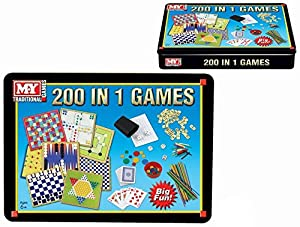 200 in 1 Tin Box Board Game Set Compendium Travel Games Chess Backgammon Ludo