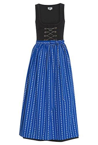 DISTLER Schwarzes Dirndl mit blauer Schürze, 90 cm - Damen Damen-Dirndl,langes Dirndl,traditionell,Tracht schwarz-blau,44