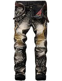 Ghope Jeans un pantalon en jean rue européens et américains trous de personnalité masculine dans ailes brodé rétro