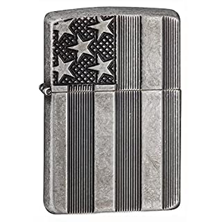 Zippo 60.001.624 Feuerzeug Stars and Stripes - Choice Collection 2015/2016 - Antique Silver Plate Armor - Deep Carve