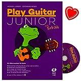 Play Guitar Junior mit Schildi - Gitarrenschule von Michael Langer für Kinder - Kompletter Lehrgang für die ersten zwei Lemjahre in einem Band - Lehrbuch mit CD,mit 32 bunten Schildi-Aufklebern und Notenklammer - Edition DUX - D3507 - 9783868492644