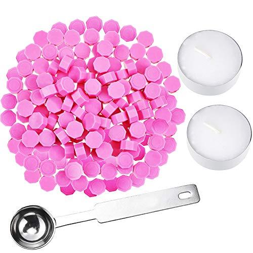 230 Stück achteckige Siegelwachsperlen Stäbchen mit 2 Stück Teekerzen und 1 Stück Wachsschmelzlöffel zum Versiegeln von Wachsstempeln rose