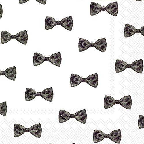 Bow Ties Hochzeit Verlobungsring Cocktail oder Tee Servietten Papier, quadratisch, 25cm 20Stück ()