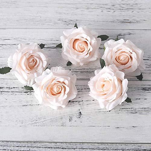Dodom 5 stücke künstliche Rosen weiße Seide gefälschte Rosen Blume Faux köpfe hohe qualität DIY Hochzeit Dekoration sammelalbum zubehör, Champagner -