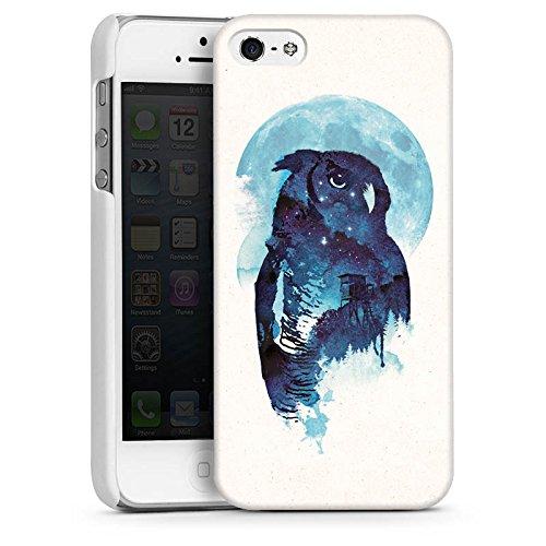 Apple iPhone 5s Housse Étui Protection Coque Hibou Hibou Nuit CasDur blanc
