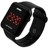 SunJas 3ATM Armbanduhr Sportuhr LCD Digital Sport Wasserdicht, für Jugendliche, Herren, Damen, Kinder (Schwarz)