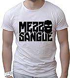 T-Shirt Uomo Cotone Fiammato Scollo Ampio a Taglio Vivo - Mezzo Sangue Divertente Humor Made in Italy (S, Nera)