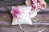 Ringkissen Wedding Pillow Hochzeit Ringe ivory rosa Braut Dekoration AK2