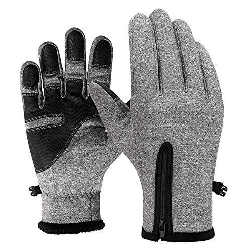 Suxman guanti invernali antivento grigio, touchscreen guanti termici per smartphone, per moto mtb, bici ciclismo, alpinismo scooter, bici, camping e outdoor per uomo e donna(grigi, l)