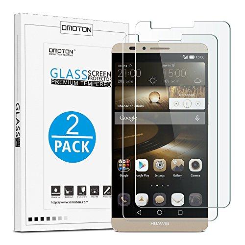 OMOTON Huawei Ascend Mate 7 Pellicola Protettiva In Vetro Temperato - Compatibile Con 3D Touch - Durezza Elevata - Garanzia A vita [2 pezzi]