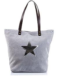 da2dee589a8b6 Bolso shopping bag de mujer piel auténtica.Bolso cuero genuino asa larga  hombro.Adorno estrella metalizada piel.